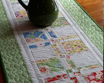 "Quilted Floral Table Runner, Spring Colors, Green, Yellow, White Table Runner,  16.5x48"", Quilted Table Decor, Quiltsy Handmade"