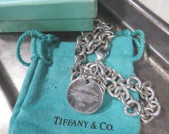 Tiffany and Co. Sterling Silver Please Return to Tiffany Round Tag Link Chain Necklace, Bag & Original Box