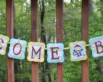 Mini Welcome Baby Banner Monkey Baby Shower Banner Baby Boy Jungle Shower Safari photo prop Wall Art READY TO SHIP