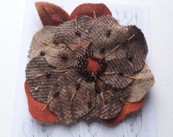 Tweed Flower Brooch || Handmade Corsage || Textile Orange Poppy