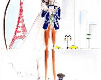 Custom Portrait illustration,  Wedding Portrait Illustration , Personalized Wedding Gift, Custom Couple Portrait