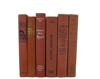 Brown Brick  Decorative Books , Brown Vintage Books , Home Decor , Old Books , Vintage Photo Props , Table Setting , Wedding Decor