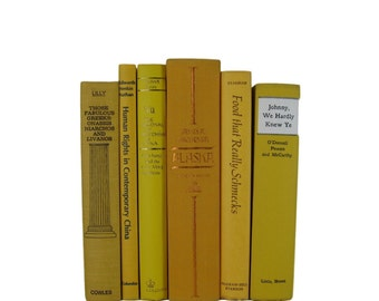 Vintage Books in  Shades of Yellow  and Gold Decorative Books Old Books , Yellow Wedding Decor, Book Home Decor
