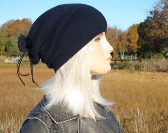 Lightweight Spring Slouchy Beanie Hat Baggy Back Tube Tam Cotton Navy Blue Women's Knit Hats by Vacationhouse A1299