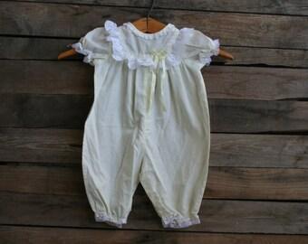 SUPER SALE - Vintage Children's Yellow & White Lace Romper Size 3-6 Months