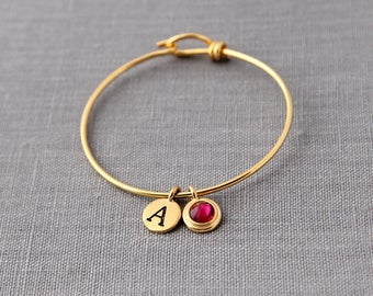 Gold Birthstone Bracelet with Initials, Gold Grandmother Jewelry, New Mom Gift in Gold, Personalized Gold Initial Jewelry