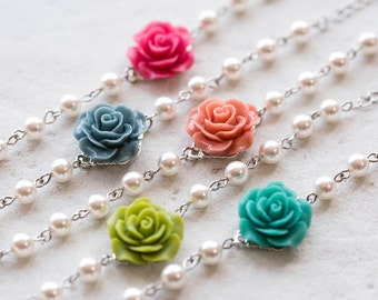 Bridesmaid Bracelet, Flower Girl Bracelet, Dusty Blue Hot Pink Fuchsia Coral Orange Green Teal Rose with Cream White Pearls Bracelet