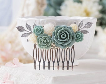 Dusty Blue Wedding Silver Bridal Hair Comb, Powder Blue Ivory Rose Flower Hair Comb, Silver Leaf Hairpiece,  Bridesmaid Gift, Something Blue