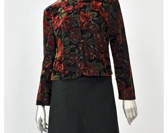 Floral Velvet Jacket • Black Velvet Blazer • 80s Formal Jacket • Red Rose Print • Vintage Evening Wear • Mother of Bride • Floral Jacket S/M