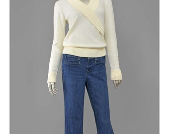 30% 0FF SALE 70s Sweater Boho Wrap Top Cream Sweater Shawl Collar Knit Top V Neck Sweater 1970s Sweater Bohemian Sweater S/M
