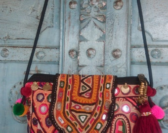 Vintage Banjara Small Crossbody handmade tribal Pompom Strap Charming Ethnic Fashion