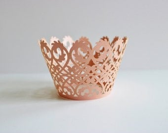 Wedding Cupcake Wrappers 12 or 24 Pink Lattice Laser Cut Paper / Shower / Baking / Gifts