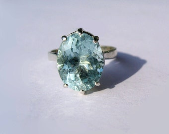 Seafoam Blue Natural Aquamarine In Sterling Silver Ring, 4.87ct. Size 7.25