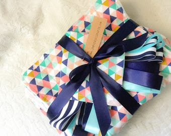 Triangle Baby Set, 1 flannel receiving Blanket, 2 burp cloths, 1 tag blanket