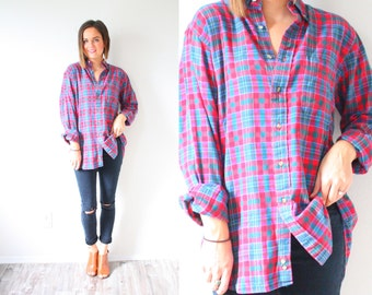 Vintage red plaid flannel shirt // large red pink blue green checkered // plaid lumberjack shirt // long sleeve shirt Mens oversized flannel