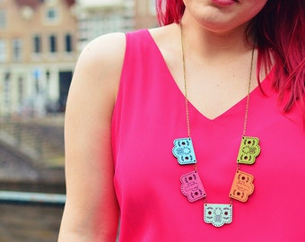 Papel Picado Necklace, Mexican Bunting, Day of the Dead Jewellery, Cactus, Pineapple, Nickel Free