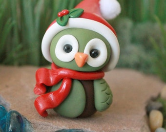 Polymer Clay Christmas Owl - Miniature Owl - Mini Clay Owl - Terrarium Accessory – Owl Sculpture – Garden Decoration