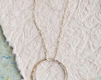Gold Minimalist Necklace, Circle Necklace, Gold Silver Necklace, Long Necklace, Minimalist Necklace, Minimalism, Gold Necklace, Sterling