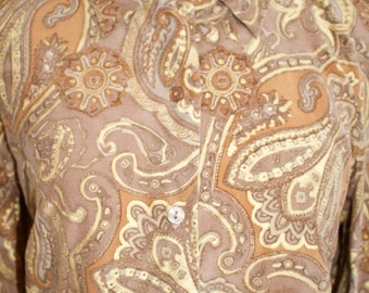 Vintage 90s Silk Blouse, 1990s Button Up Shirt, Paisley Print, Brown, Top