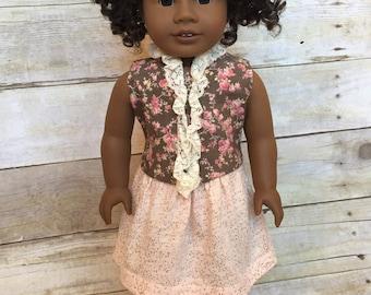 Doll Skirt - Blush knit skirt for 18 inch dolls - gathered doll skirt - blush and rose gold doll skirt