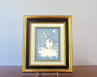 Vintage Wedgewood Style Franklin Mint Parian Porcelain Nature's Four Seasons Blue Deer