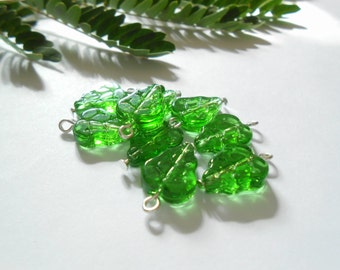 Transparent Green Leaves Dangle Beads