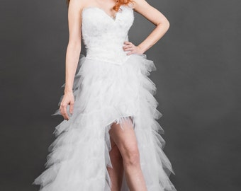 White Feather Bridal Corset Tulle High Low Waterfall Hem Wedding Gown