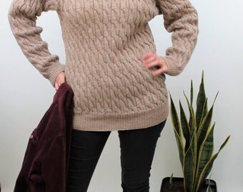 Taupe Cable Knit High Neck Jumper Size UK 10, US 6, EU 38