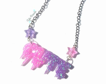 CUTE - pink/purple - Resin Necklace