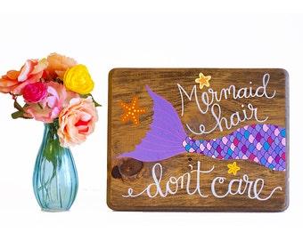Mermaid wood sign, mermaid painting, mermaid art on wood, mermaid quote, rustic mermaid sign, nautical nursery art