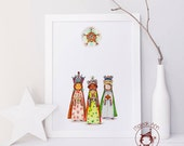 The Magi - Los Tres Reyes Magos - Three Wise Men - Fine Art Print - Home Decor - Magical Wall Art