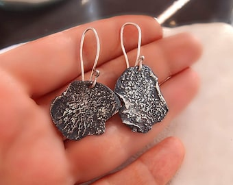 Blackened Silver Earrings, Organic Form, OOAK, Silversmith Jewelry, Oxidized Sterling Silver, Molten Silver, Ready to Ship