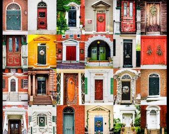 Doors of Portsmouth New Hampshire, Architectural Photography, Historical Doors, Rustic Door Print, Colorful Doors Print, Fine Art Print