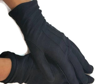 Winter Gloves Women Vintage Black Nylon Gloves Ladies Gloves For Winter Women's Gloves Size 7