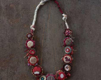Brown red crochet necklace with fabric buttons and leather, ceramic and wooden beads, OOAK statement jewelry, gift for dog lovers