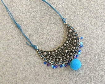 Ethnic Jewelry, Boho Gypsy Necklace, Turquoise Statement Necklace, Repurposed Upcycled Jewelry, Nomad Necklace, Moroccan Berber Jewelry