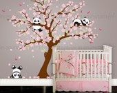 Cherry Blossom Wall Decal Playful Pandas in Cherry Blossom Tree | Custom Nursery and Children's Room Interior Design | Easy Application 094