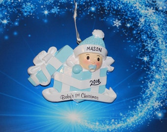 Personalized Baby Boy Present First Christmas Ornament