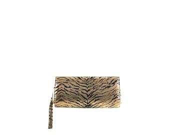 Leather evening bag clutch ELSA // gold black zebra animal print (Italian calf skin) - FREE shipping, unique