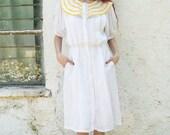 Linen dress with peter Pan collar, Midi summer dress size medium