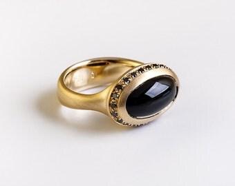 Goldring mit schwarzem stein  Oval onyx ring | Etsy