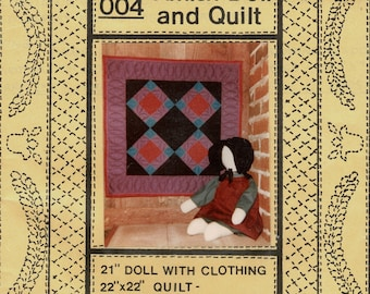 Vintage 80s Amity Amish Stuffed Toy Doll And Pieced Wall Quilt patterns, 1982 Pattern design 004 sewing pattern