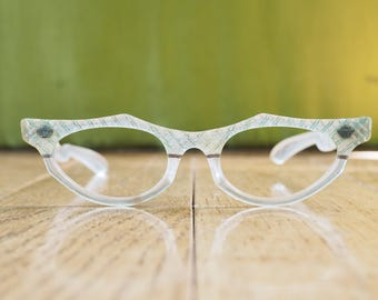 Vintage Cat eye Glasses 1960's Frames Clear Two-toned Frame Made in USA new Old Stock Eyeglasses By Lumar