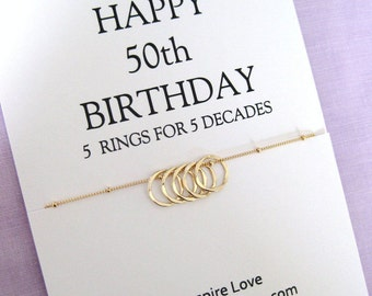 Sister 50th Birthday Necklace. GOLD Eternity Circle Gift for Sister. Gift for her. 50th Birthday Gift for Friend.