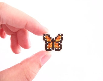 Butterfly cross stitch pin, orange monarch butterfly, gifts for her, gifts under 30