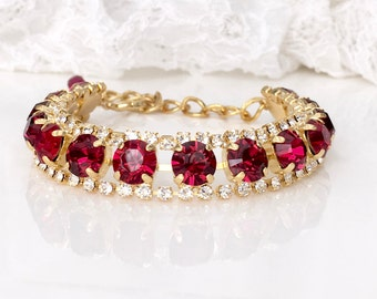 Red Ruby Bracelet Red Ruby Gold Bracelet Red Bridal Red Wedding Red Bridesmaids Ruby Wedding Ruby Anniversary Ruby Bridal Gold Bracelet
