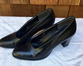 Retro Evan Picone Pumps, Black Heels, Chunky Heel, 1980s, Made in Italy, Size 5 1/2