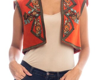 1920s Floral Silk Embroidred Vest Size: S