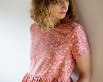Floral Outline Print Cotton Dress - Floral Dress - Cotton Poplin Dress - Handmade by OFFON