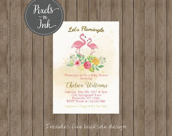 PRINTABLE CUSTOMIZABLE DIY Flamingle Floral Watercolor Flamingo Baby Shower invitation - by Pixels n Ink